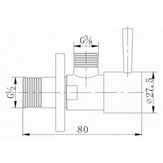 ZOSS1/2x3/8 kerek sarokszelep szálcsiszolt nikkel
